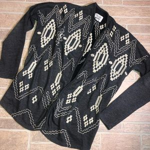 Lucky Brand Lotus Embroidered Cardigan Large